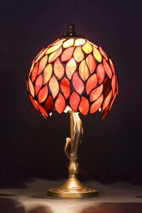Tiffany MAŁA LAMPKA | Płomienna czerwień