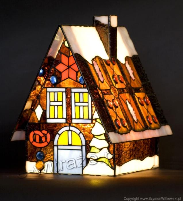Tiffany MAŁA LAMPKA | Domek z piernika