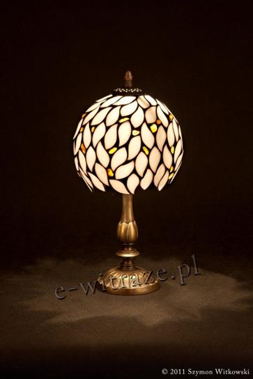 Tiffany MAŁA LAMPKA   Biel z bursztynem