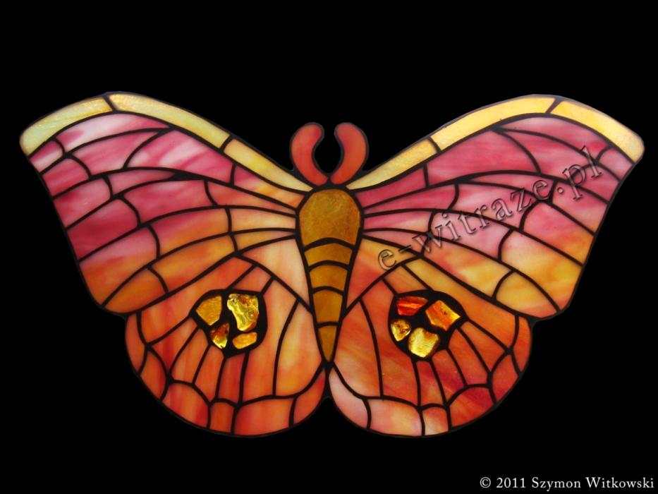 Tiffany WITRAŻ PŁASKI | Motyl Tiffany z bursztynem