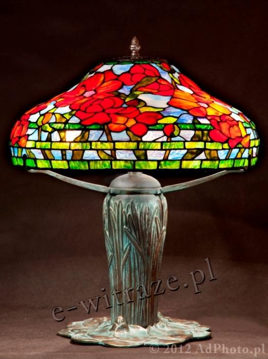 Tiffany LAMPA TIFFANY | Czerwone Piwonie ⌀ 46 cm