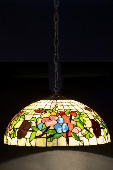 LAMPA TIFFANY | Pansy - Bratki ⌀ 40 cm witrażowa
