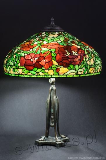 LAMPA TIFFANY | Piwonie ⌀ 56 cm witrażowa