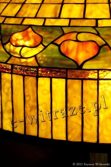 LAMPA TIFFANY | Złota kopuła ⌀ 61 cm witrażowa