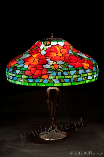 LAMPA TIFFANY | Czerwone Piwonie ⌀ 46 cm witrażowa