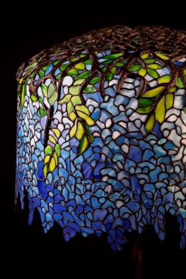 LAMPA TIFFANY |  Wisteria Błękitna ⌀ 46 cm witrażowa