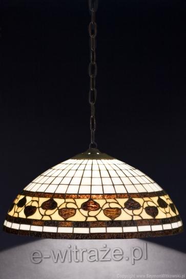 LAMPA TIFFANY | Acorn brązowy ⌀ 40 cm witrażowa