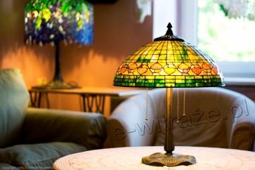 LAMPA TIFFANY | Acorn zielony ⌀ 40 cm witrażowa