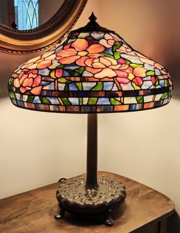LAMPA TIFFANY | Pastelowe Piwonie ⌀ 46 cm witrażowa